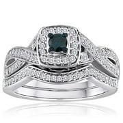 Amoureux Platinaire 1/2ct TDW Blue and White Diamond Bridal Set
