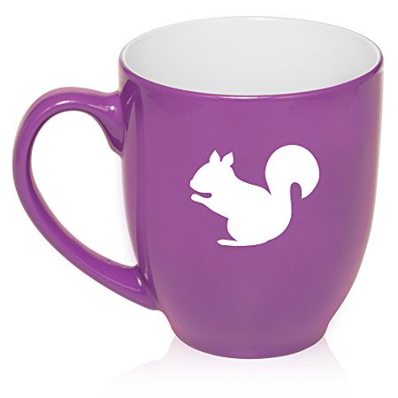 Glass Squirrel (16 oz Large Bistro Mug Ceramic Coffee Tea Glass Cup Squirrel (Purple) )