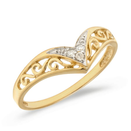 10K Yellow Gold Filigree Band Diamond Chevron Ring