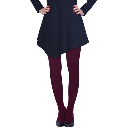 e4a8edca6fbf9 HDE - HDE Womens Solid Gradient Color Stockings Opaque Microfiber Footed  Tights, Large or X-Large Maroon - Walmart.com