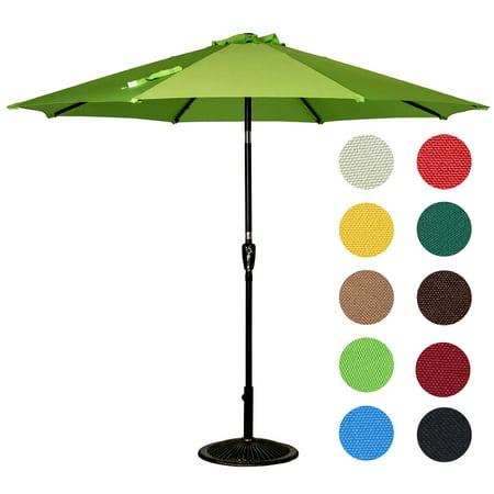 Sundale Outdoor 9 Feet Outdoor Aluminum Patio Umbrella with Auto Tilt and Crank, 8 Alu. Ribs, 100% Polyester Auto Crank Tilt Outdoor Patio