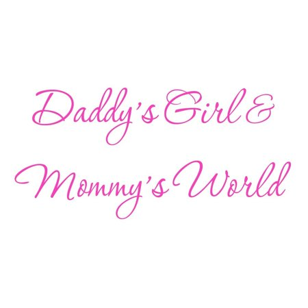 Bear Pink Wall (VWAQ Daddy's Girl and Mommy's World Pink Nursery Wall Decal Quote Vinyl Wall Art Decor Baby's Room #3 )