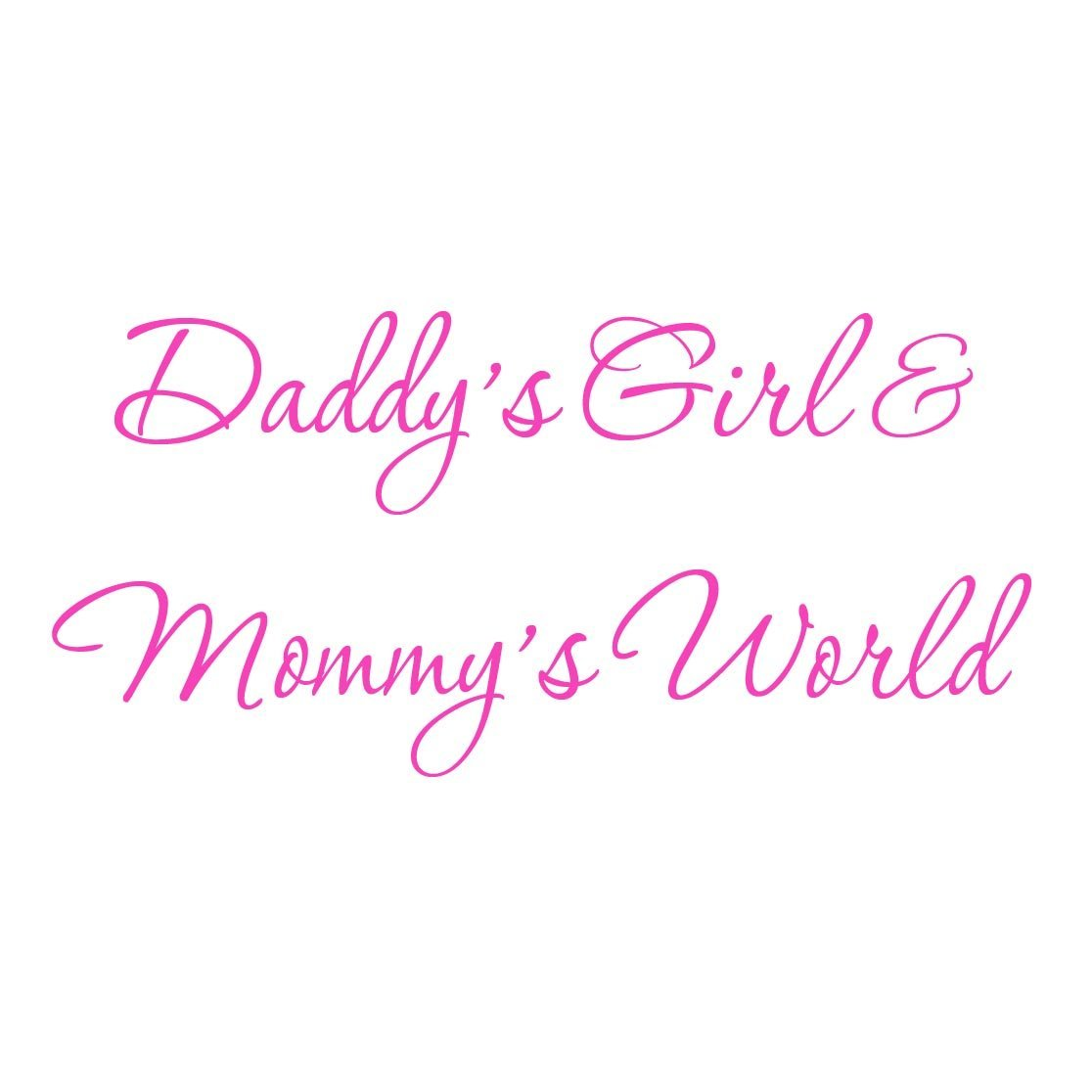 VWAQ Daddy's Girl and Mommy's World Pink Nursery Wall Decal Quote Vinyl Wall Art Decor Baby's Room #3