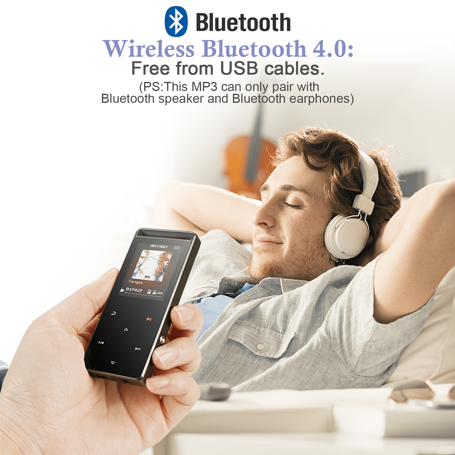 AGPTEK 16GB Bluetooth MP3 Player Touch Screen with FM/ Voice