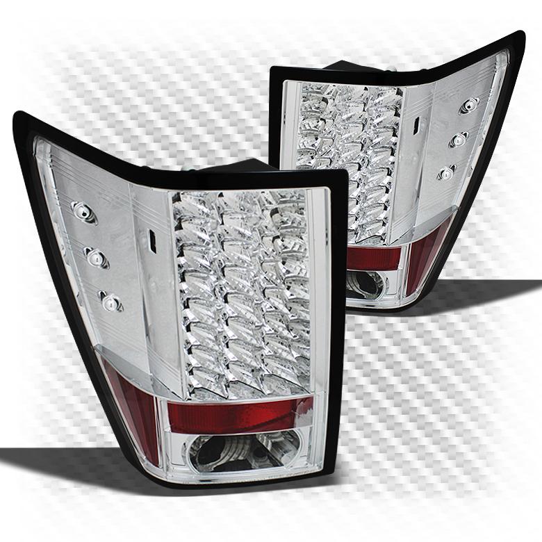 For 2007-2010 Grand Cherokee Chrome LED Perform Tail Lights Rear Brake Lamps Pair Left+Right/2008 2009