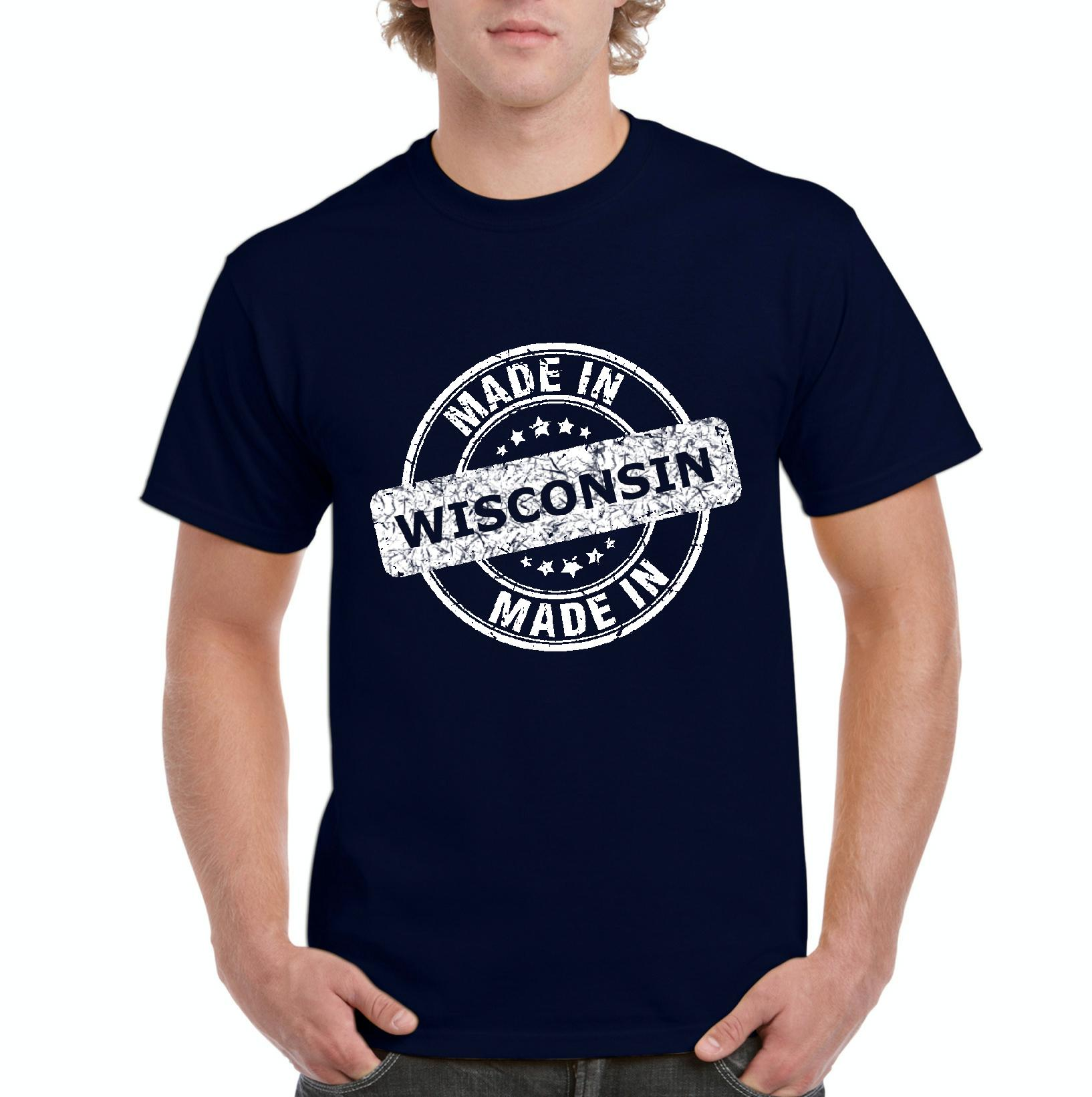 Made in WI Milwaukee Map Badgers Panthers Home University of Wisconsin Flag Mens Shirts