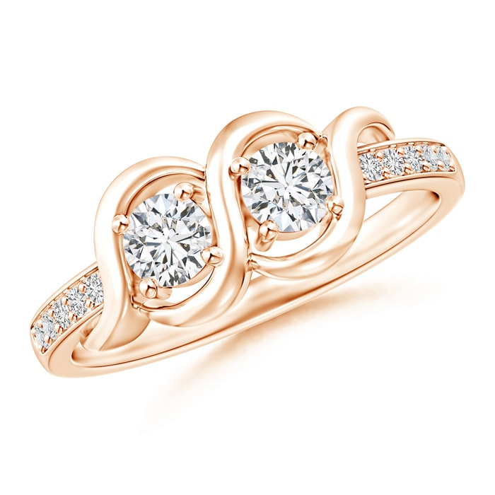 Angara Twisted Two Stone Diamond Wrap Ring with Diamond Accents EMuJttvi5f