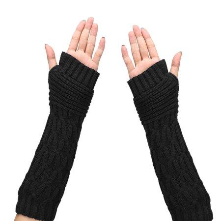 Long Gloves, EEEKit 1 Pair Fashion Women Ladies Girls Warm Knit Mitten Long Fingerless Gloves Crochet Thumbhole Long Arm Warmers