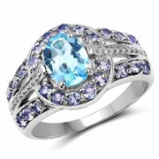 Malaika  Sterling Silver 2 1/5ct Swiss Blue Topaz and Tanzanite Ring