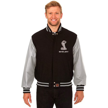 JH Design Carroll Shelby Men's Wool & Leather Varsity Jacket with Embroidered Applique Logos - All Time Low Varsity Jacket