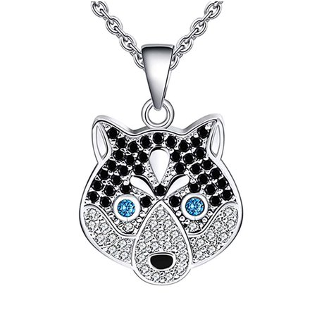 Sterling Silver Dog Pendant - Ginger Lyne Collection Koko The Siberian Husky Dog Sterling Silver CZ Pendant Chain Necklace