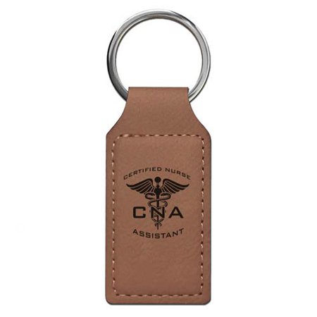 Keychain - CNA Certified Nurse Assistant (Dark Brown Rectangle) (Cna Gifts)
