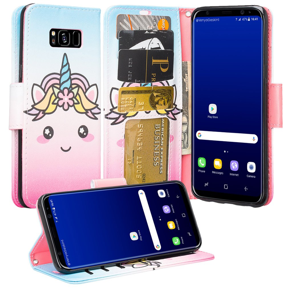 Cute Girls Women Phone Case for Samsung Galaxy S8 Plus Protective Pu Leather Wallet Case Wrist Stap & Kickstand - White Unicorn