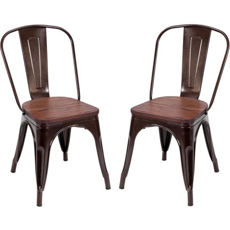 Costway Set of 2 Style Dining Side Chair Stackable Bistro Metal Wood Stool Copper ()