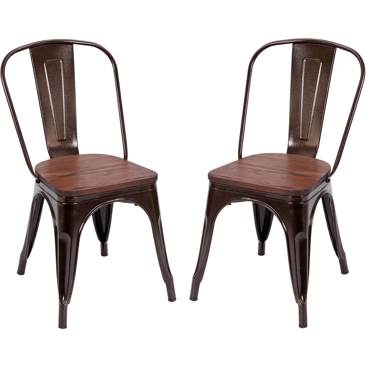 Costway Set of 2 Style Dining Side Chair Stackable Bistro Metal Wood Stool Copper