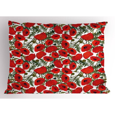 Poppy Pillow Sham Abstract Flower Pattern with Garden Foliage Botanical Bouquets Organic Meadows, Decorative Standard Size Printed Pillowcase, 26 X 20 Inches, Green Red White, by - Organic Standard Pillowcase