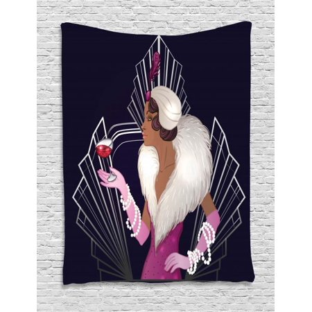 Old Hollywood Tapestry, 1920s Style Lady with Fur Collar and Bracelets Holding a Sparkling Wine Glass, Wall Hanging for Bedroom Living Room Dorm Decor, 40W X 60L Inches, Multicolor, by Ambesonne - 1920s Room Decor