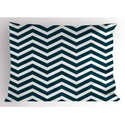 Navy Pillow Sham Zigzag Chevron Geometrical Design Lines Sea Waves Inspired Artwork Print, Decorative Standard King Size Printed Pillowcase, 36 X 20 Inches, Navy Blue and White, by Ambesonne