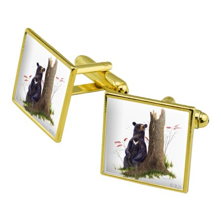 Bear Sitting by Tree Square Cufflink Set - Silver or Gold Sitting Bear Figurine