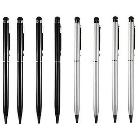 Stylus Pen [8 pcs, 4X Black + 4X Silver], 2-in-1 Universal Touch Screen Stylus + Ballpoint Pen For Smartphones Tablets iPad iPhone Samsung etc ()