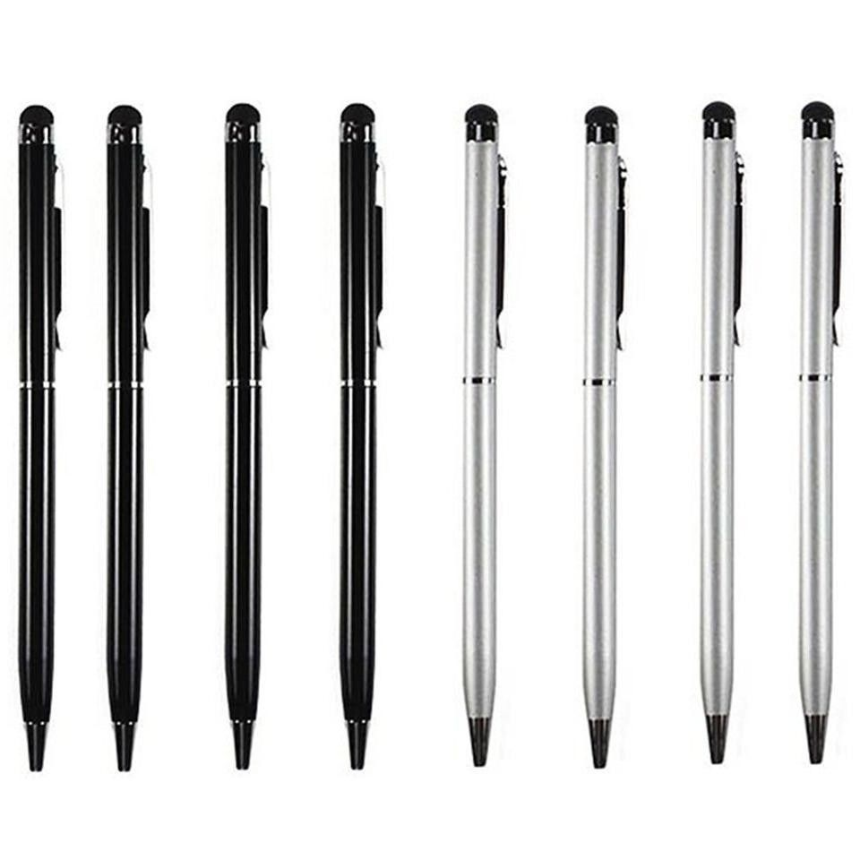 Stylus Pen [8 pcs, 4X Black + 4X Silver], 2-in-1 Universal Touch Screen Stylus + Ballpoint Pen For Smartphones Tablets iPad iPhone Samsung etc