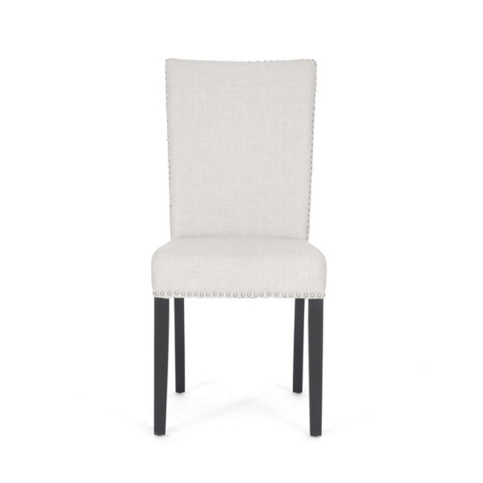 Baxton Studio Harrowgate Linen Upholstered Modern Dining Chair with Nailheads, Set of 2, Beige by Baxton Studio