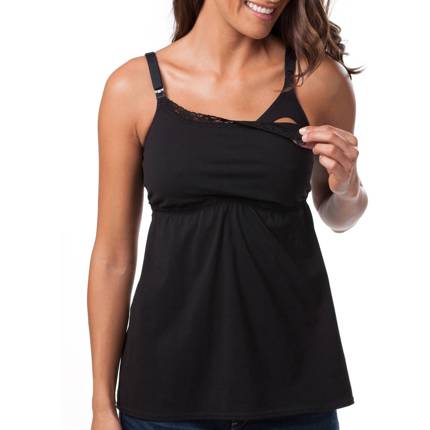 Loving Moments by Leading Lady Maternity Babydoll Nursing Tank with Lace Trim and Full Sling