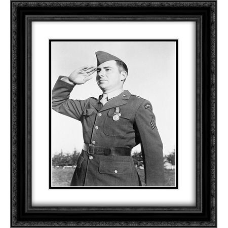 An American Ranger salutes the Briton who decorated him ; Photo, taken in French Morocco in the presence of President Roosevelt 20x24 Double Matted Black Ornate Framed Art - Decorate An Office