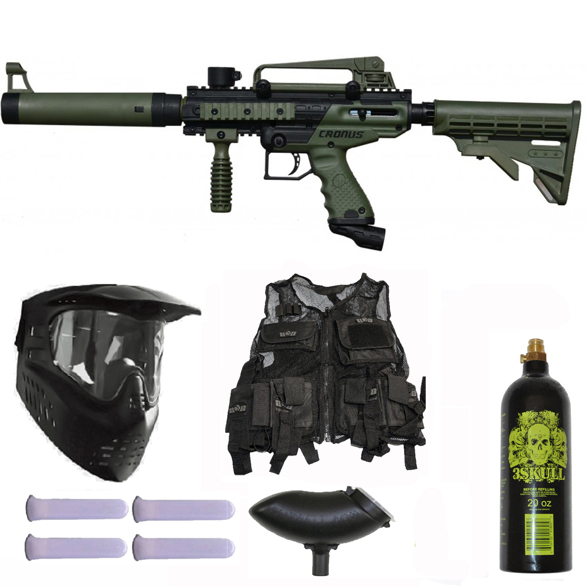 Tippmann Cronus Tactical Paintball Gun 3Skull Vest Mega Set Olive by