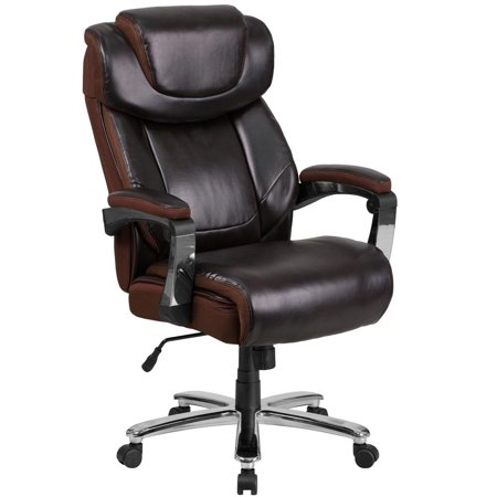 Big & Tall 500 lb. Rated Brown Leather Executive Swivel Ergonomic Office Chair with Adjustable