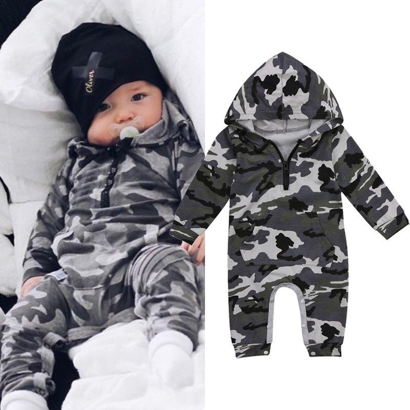 Newborn Infant Kid Baby Floral Boys Girls Hoodie Outfits Clothes Romper Jumpsuit