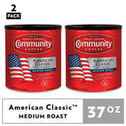 (2 Pack) Community Coffee American Classic Medium Roast Ground Coffee 37oz Canister