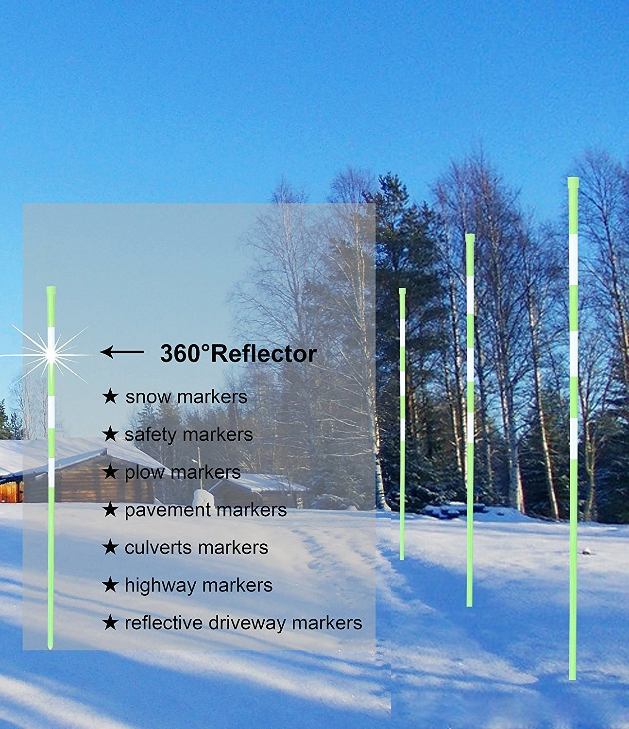 20x Highway Markers 1//4Inchx 48Inch Long Green Reflective Markers
