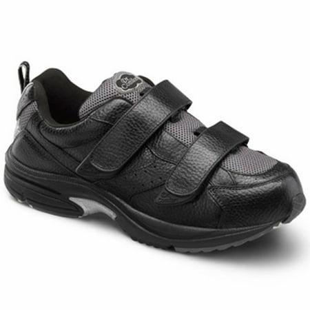 Dr. Comfort Winner-X Men's Athletic Shoe: 6 Medium (M/2E) Black Velcro](dr martens black and white wingtip shoes)