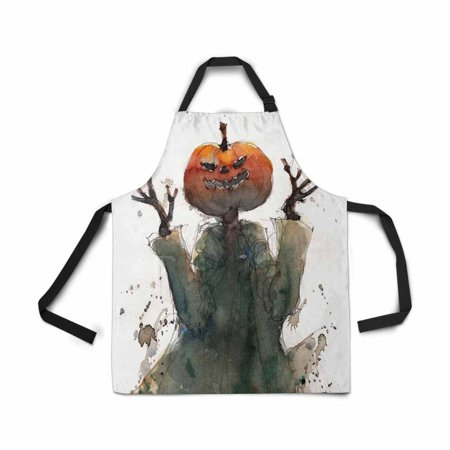 ASHLEIGH Adjustable Bib Apron for Women Men Girls Chef with Pockets Watercolor Halloween Pumpkin Head Novelty Kitchen Apron for Cooking Baking Gardening Pet Grooming Cleaning (Baking For Halloween)
