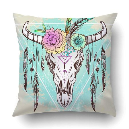 ARTJIA Boho Chic Ethnic Native American Bull Skull Feathers Boho flowers on horns Pillowcase Throw Pillow Cover Case 16x16 inches (American Native Flowers)