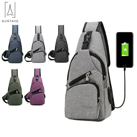 GustaveDesign Men's Sling Daypack Crossbody Chest Backpack with USB Charging for Travel or
