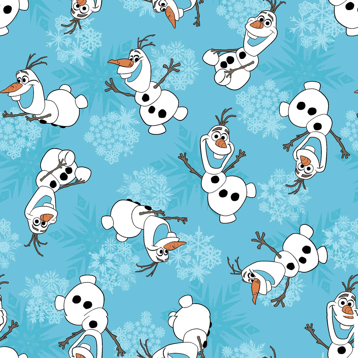 "Disney Frozen Olaf Snowflakes, Corduroy, Turquoise, 43/44"" Width, Fabric by the Yard"
