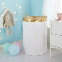 Urban Shop Canvas Storage/ Laundry Organizer Bin with Metallic Trim