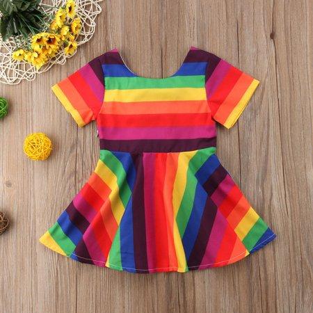 Rainbow Dress (Kids Baby Girls Short Sleeve Dress Rainbow Printed Bowknot Dress)