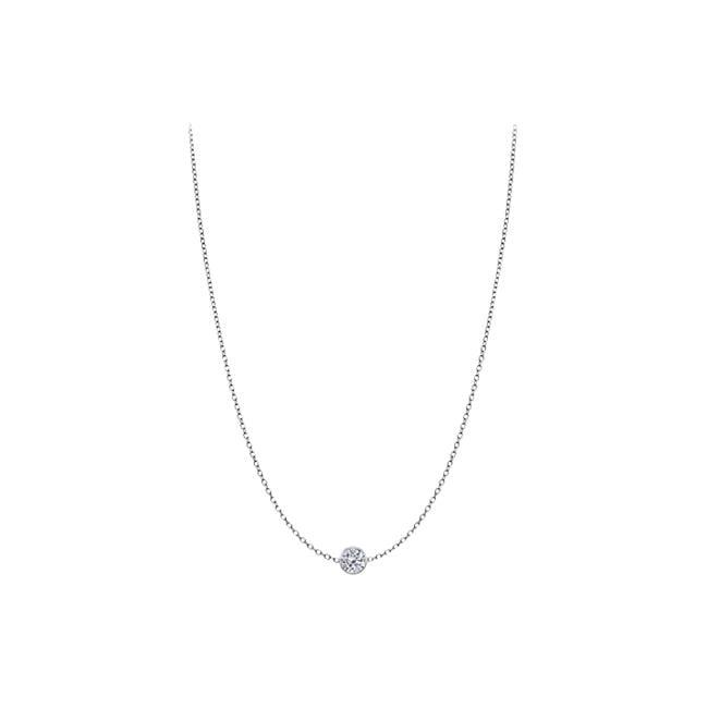 Fine Jewelry Vault UBYD102514WL Diamond Yard Necklace in Bezel Set 14K White Gold 0.25 ct. tdw by Fine Jewelry Vault