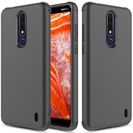 Kaleidio Case For Nokia 3.1 Plus [Sleek Armor] 2-Piece Slim Fit Dual Layer [Shockproof] Lightweight Hybrid Impact Cover w/ Overbrawn Prying Tool [Black/Black] - Nadia 4 Light