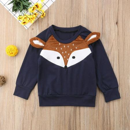 Hot Sell Newborn Infant Baby Girl Boy Fox Prints Fleeces Sweater T-shirt Tops ()