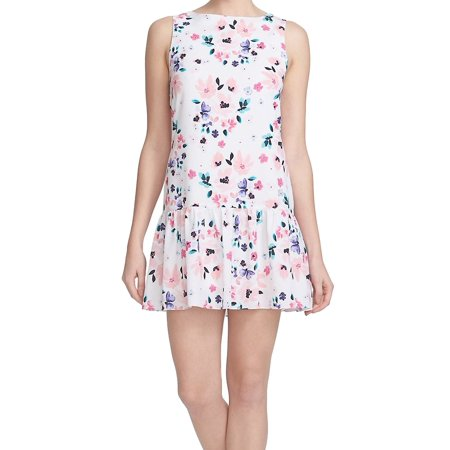 CeCe NEW Pink White Womens Size 8 Floral Print Flounce Shift Dress