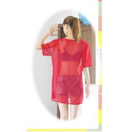 Womens Tops Summer Loose And Light T-Shirt Casual Sheer Mesh See Through  Ladies Tops Short Sleeve Round Neck Blouses For Women 5576b083ce