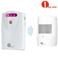 1byone 1000ft Home Security Wireless Driveway Alarm System,1 Battery-operated Receiver & 1 PIR Motion Sensor Detector Infrared Patrol Weatherproof Alert System Kit