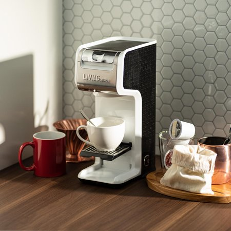 LIVEDITOR 2 In 1 Single Serve Coffee Maker Brewer, Ground & K-Cup Pods, Slim Design, White - image 6 de 6