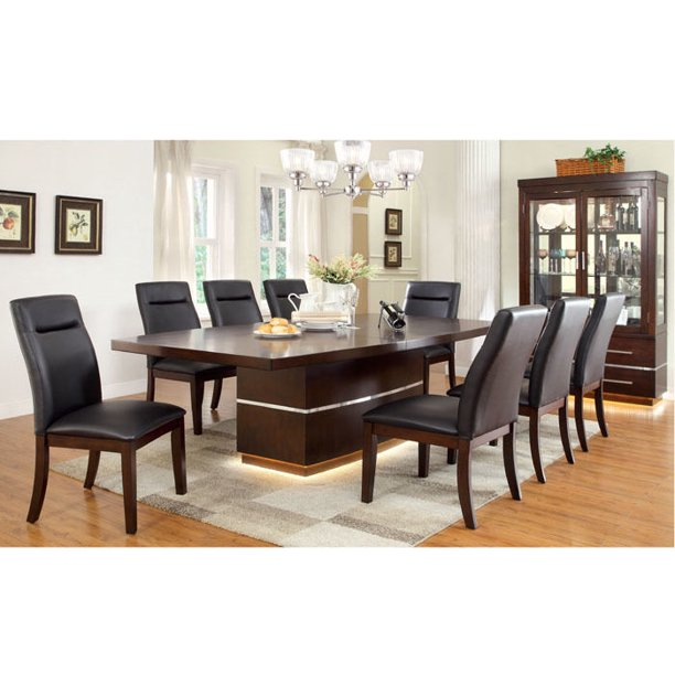 Sharrow 9-Piece Cherry Dining Table Set with Lighted Base