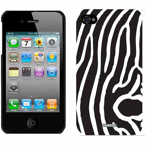Zebra Vertical Black Design on Apple iPhone 4/4s Thinshield Snap-On Case by Coveroo