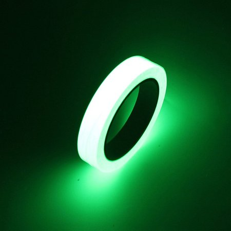 Photoluminescent Vinyl - Glow in the Dark Green Luminous Tape Sticker 10mm width * 10M length: Removable, Waterproof, Photoluminescent